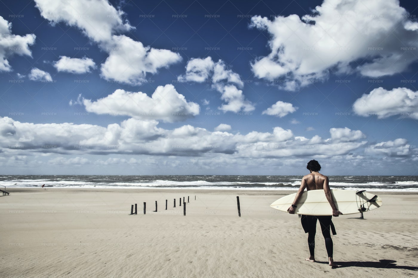 Surfer Standing On The Beach: Stock Photos