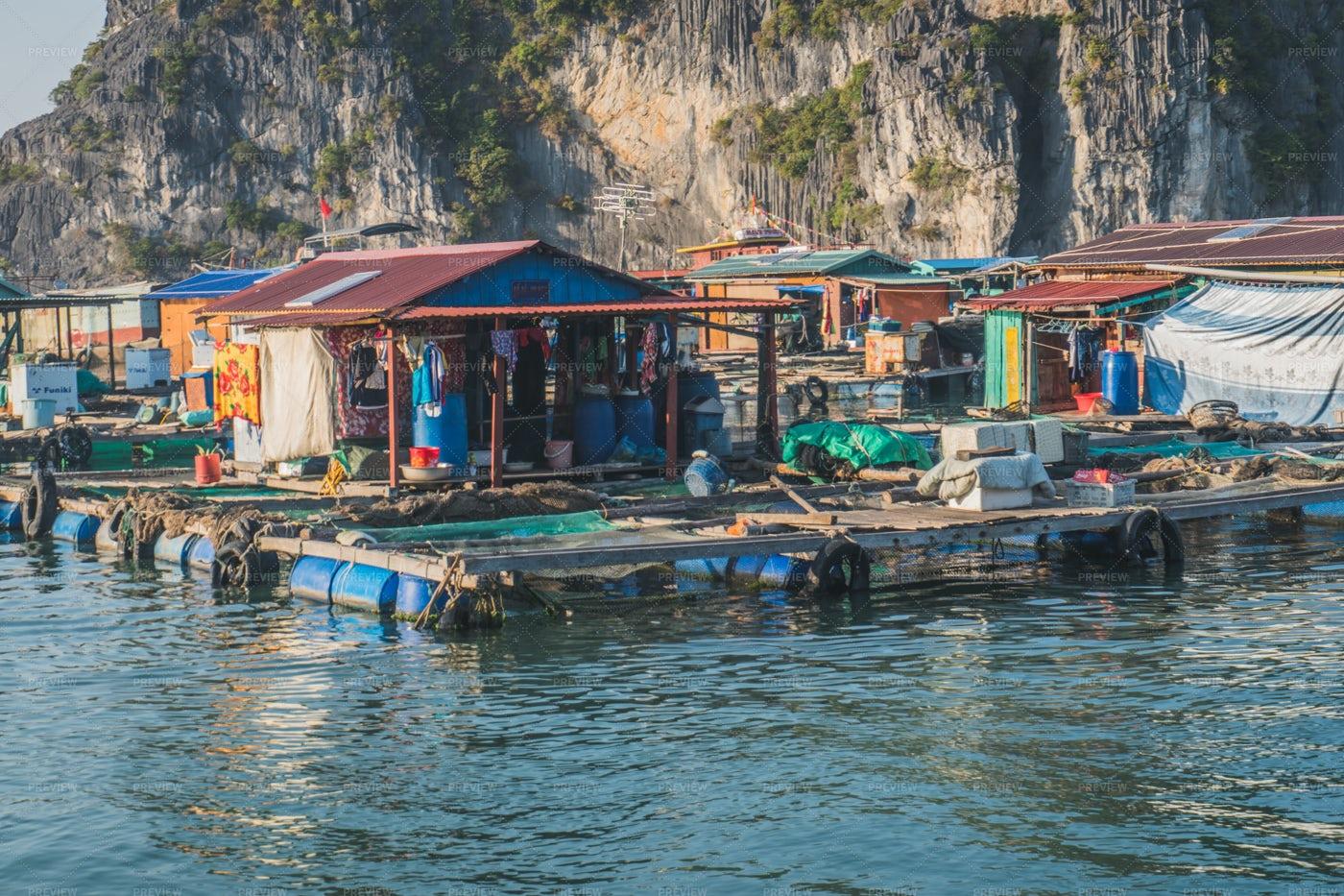 Fishing Village In Ha Long Bay: Stock Photos