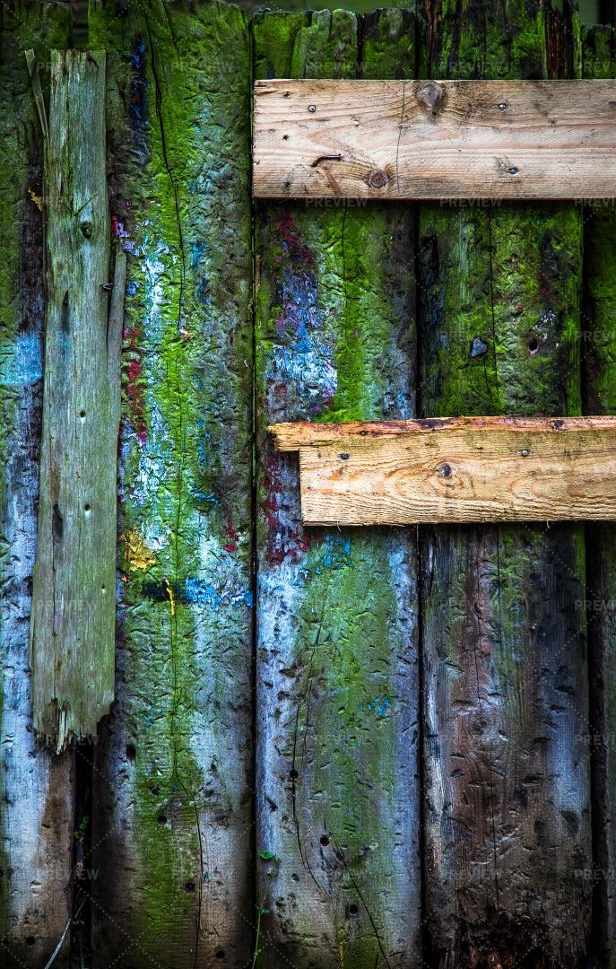 Colorful Wooden Door Background: Stock Photos