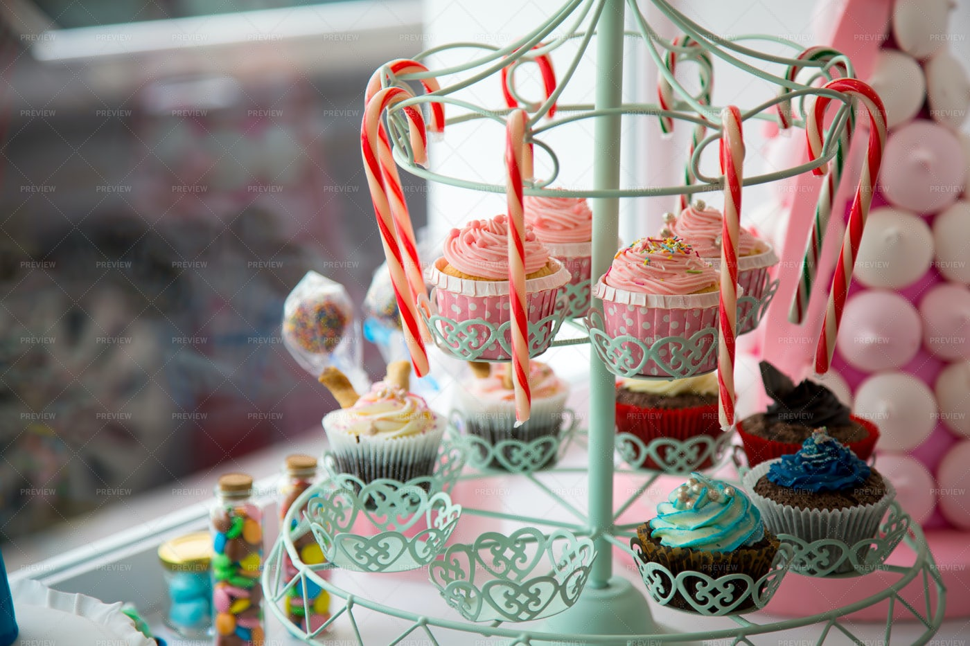 Sweets In Storefront Window: Stock Photos