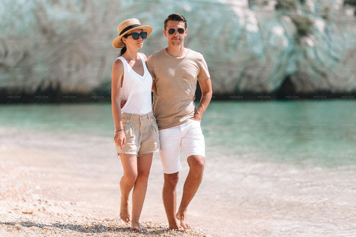 Young Couple On White Beach: Stock Photos