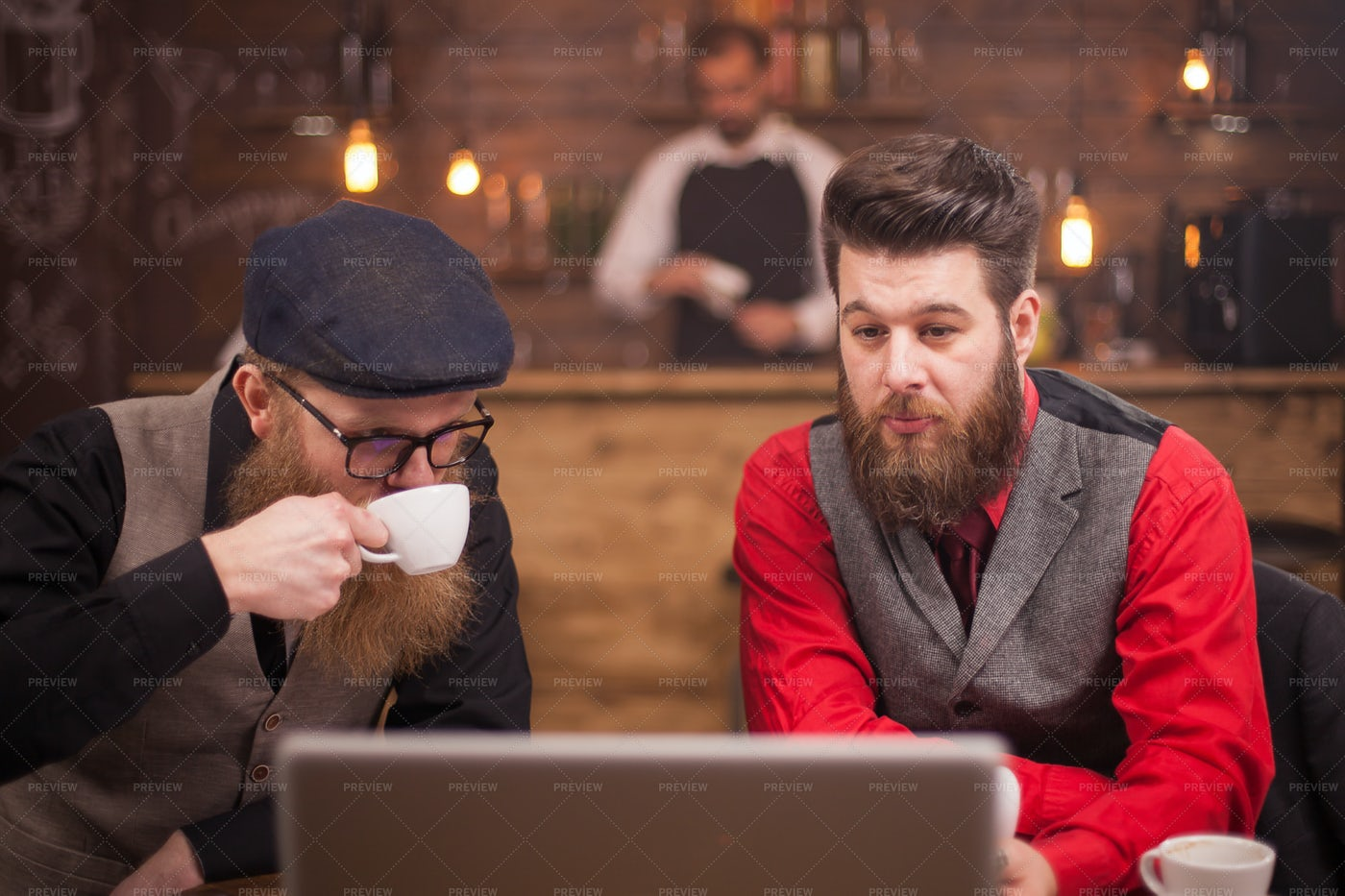 Working In Vintage Cafe: Stock Photos
