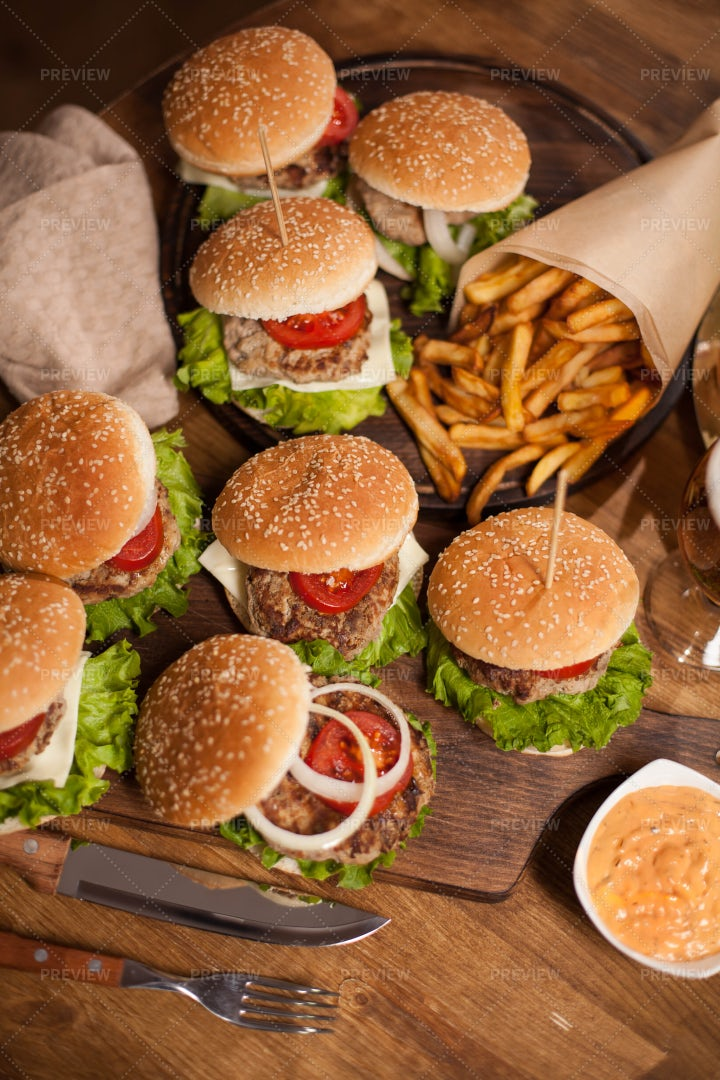 Burgers And French Fries: Stock Photos