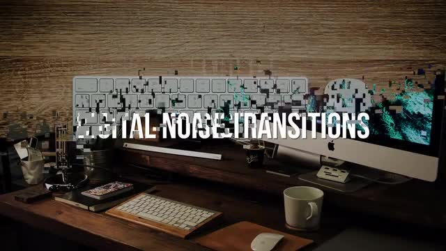 Digital Noise Transitions: Stock Motion Graphics
