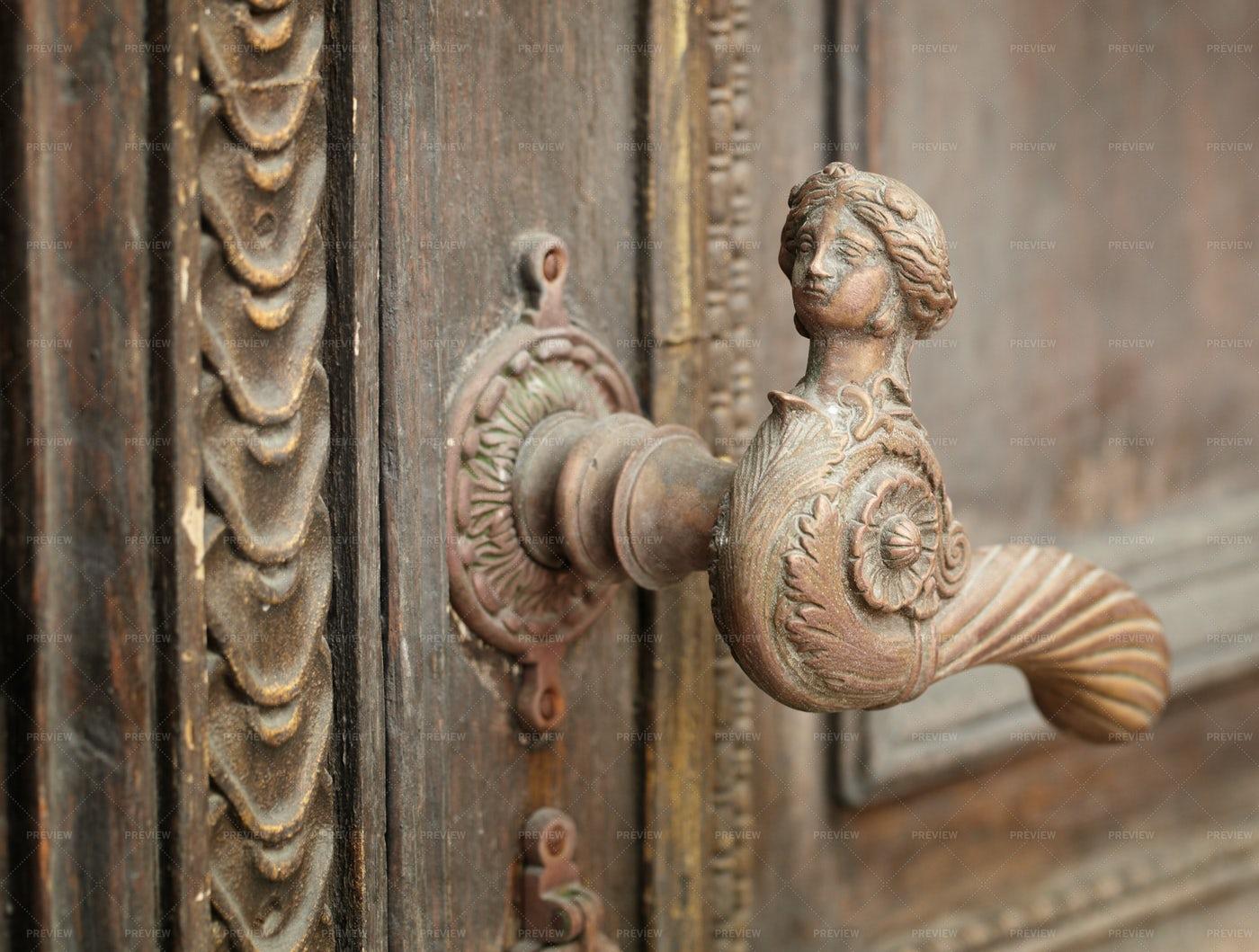 Ornate Sculpted Door Handle: Stock Photos