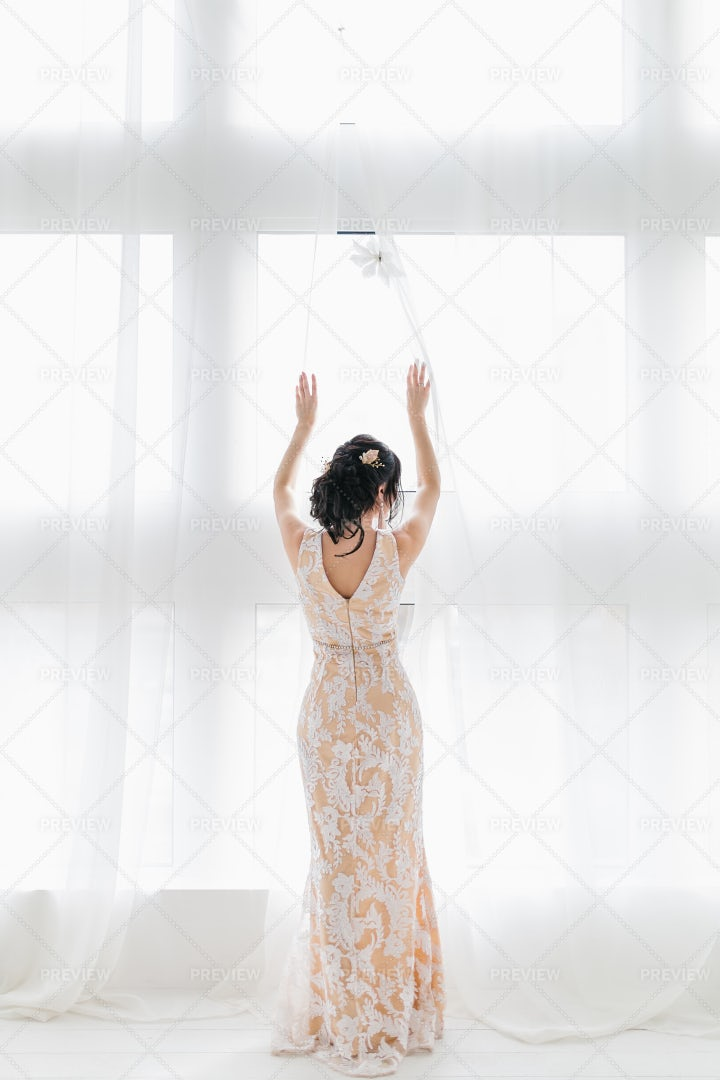 Bride In Lace Dress: Stock Photos