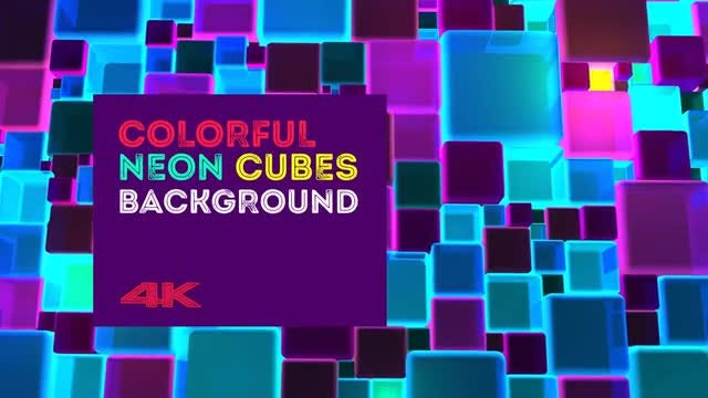 Colorful Neon Cubes Background: Stock Motion Graphics