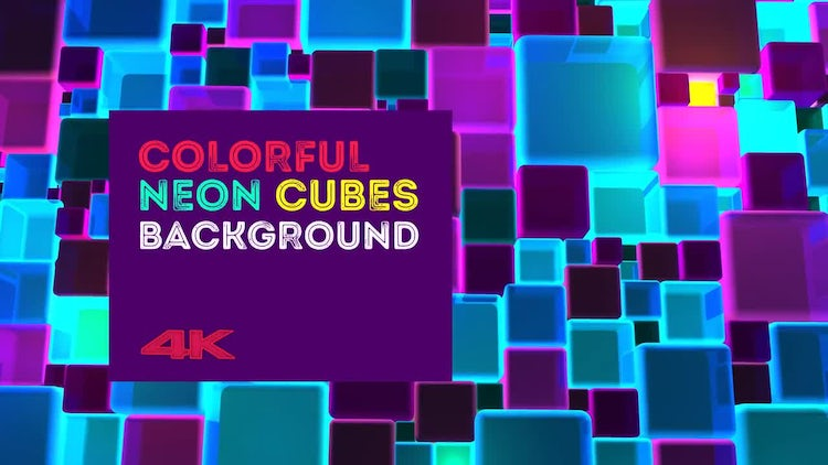 Colorful Neon Cubes Background: Motion Graphics