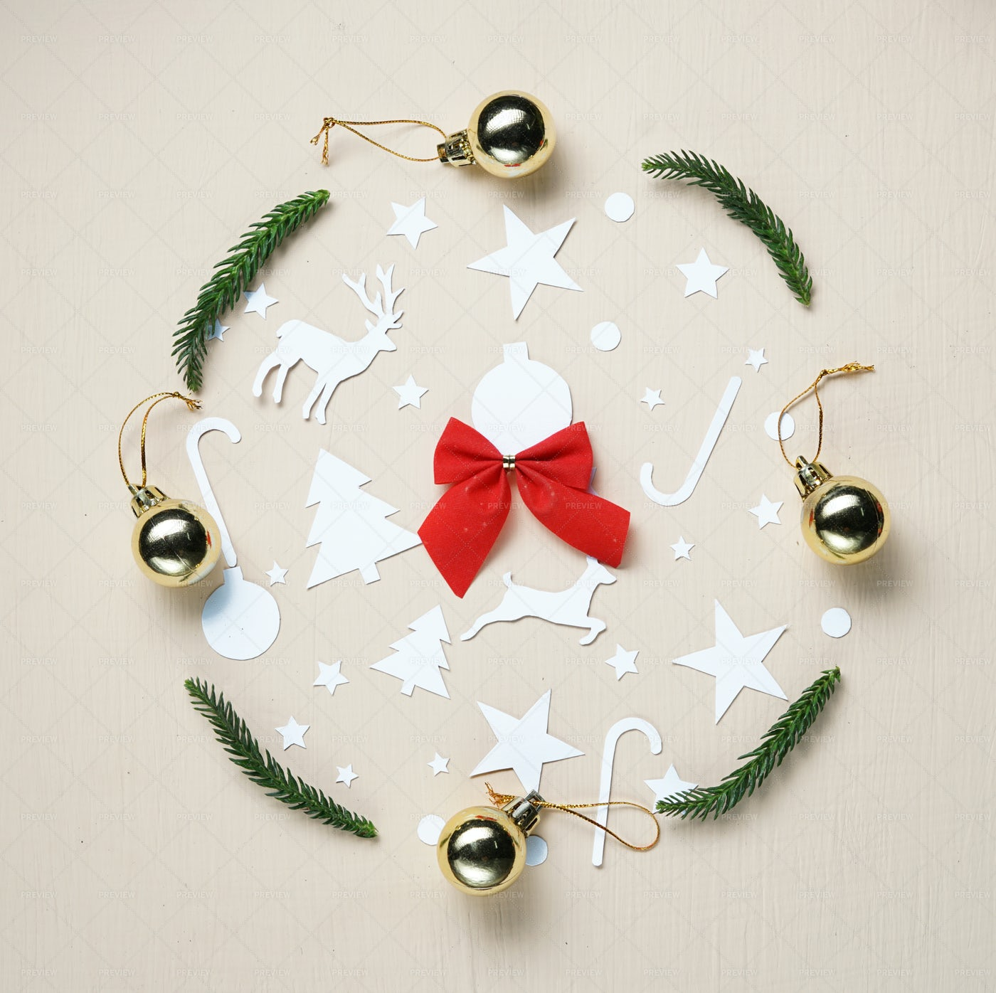 Christmas Object Circle: Stock Photos