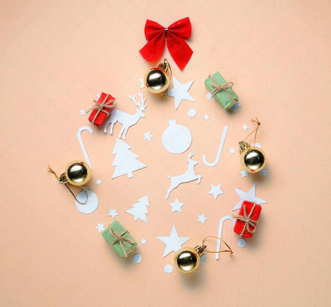 Christmas Decor On Peach Background: Stock Photos