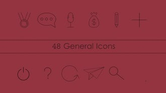 80 Animated Line Icons Pack: After Effects Templates