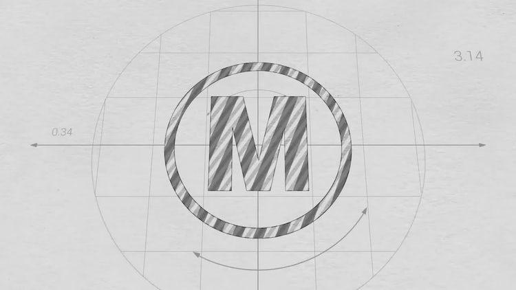 Blueprint Drawing Logo Reveal: Premiere Pro Templates