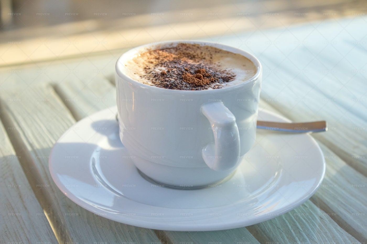 Coffee Cup On A Wooden Table: Stock Photos
