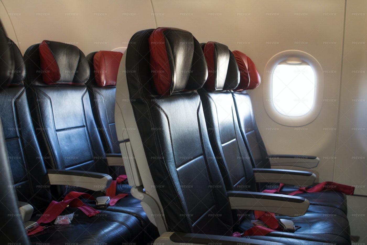 Empty Seats Inside An Airplane: Stock Photos