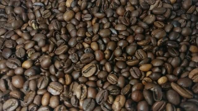Falling and rotation roasted coffee beans in slow motion: Stock Video