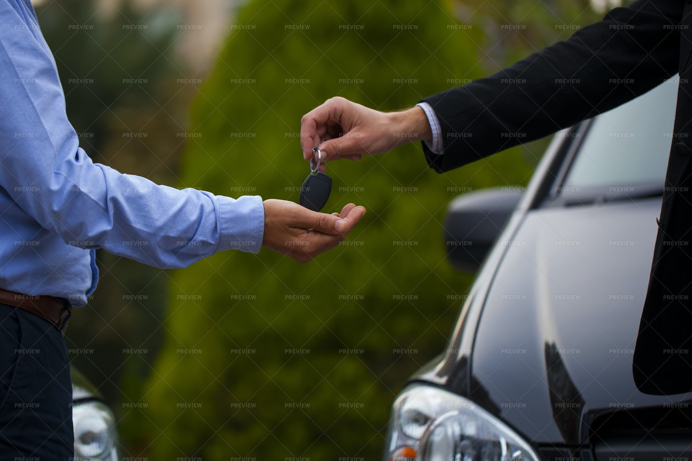 Man Purchases A New Car: Stock Photos