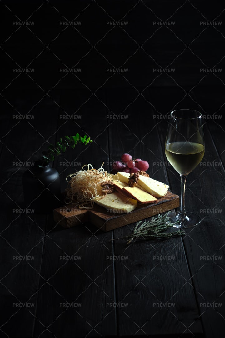 Cold White Wine With Cheese: Stock Photos