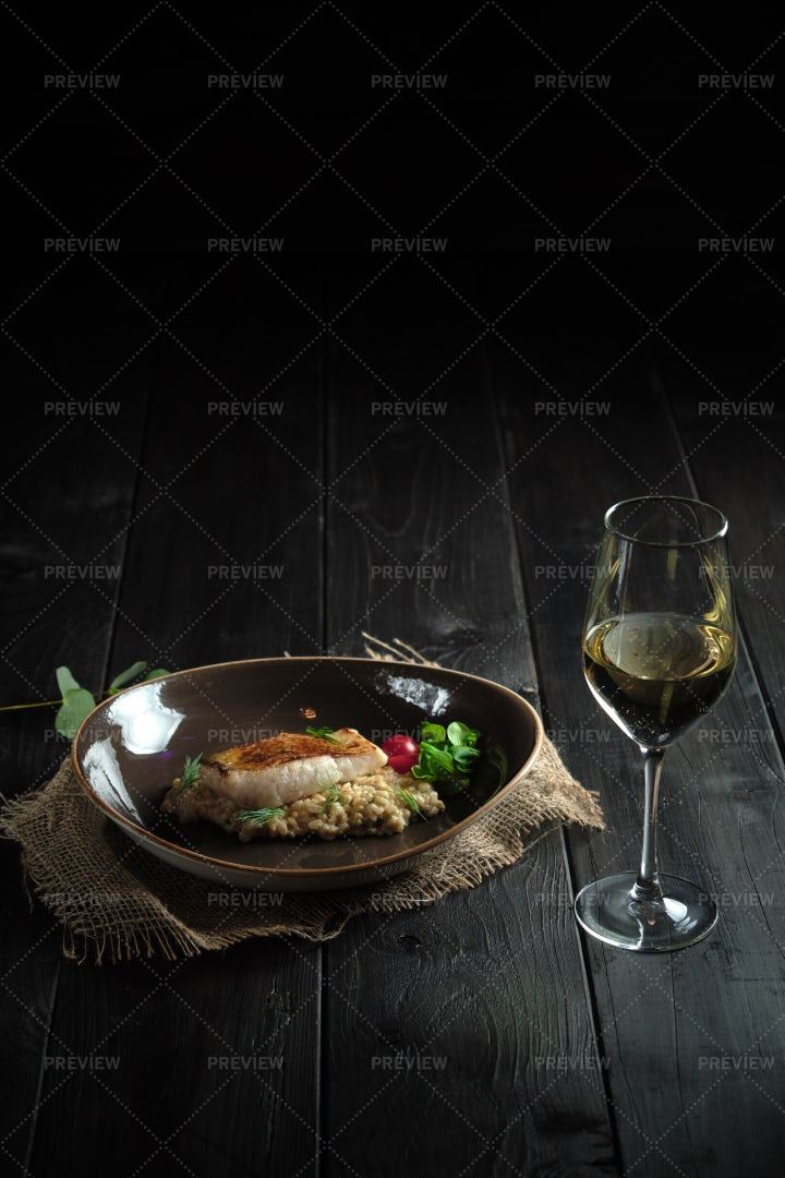 Meat Steak With Pearl Barley . Catering: Stock Photos