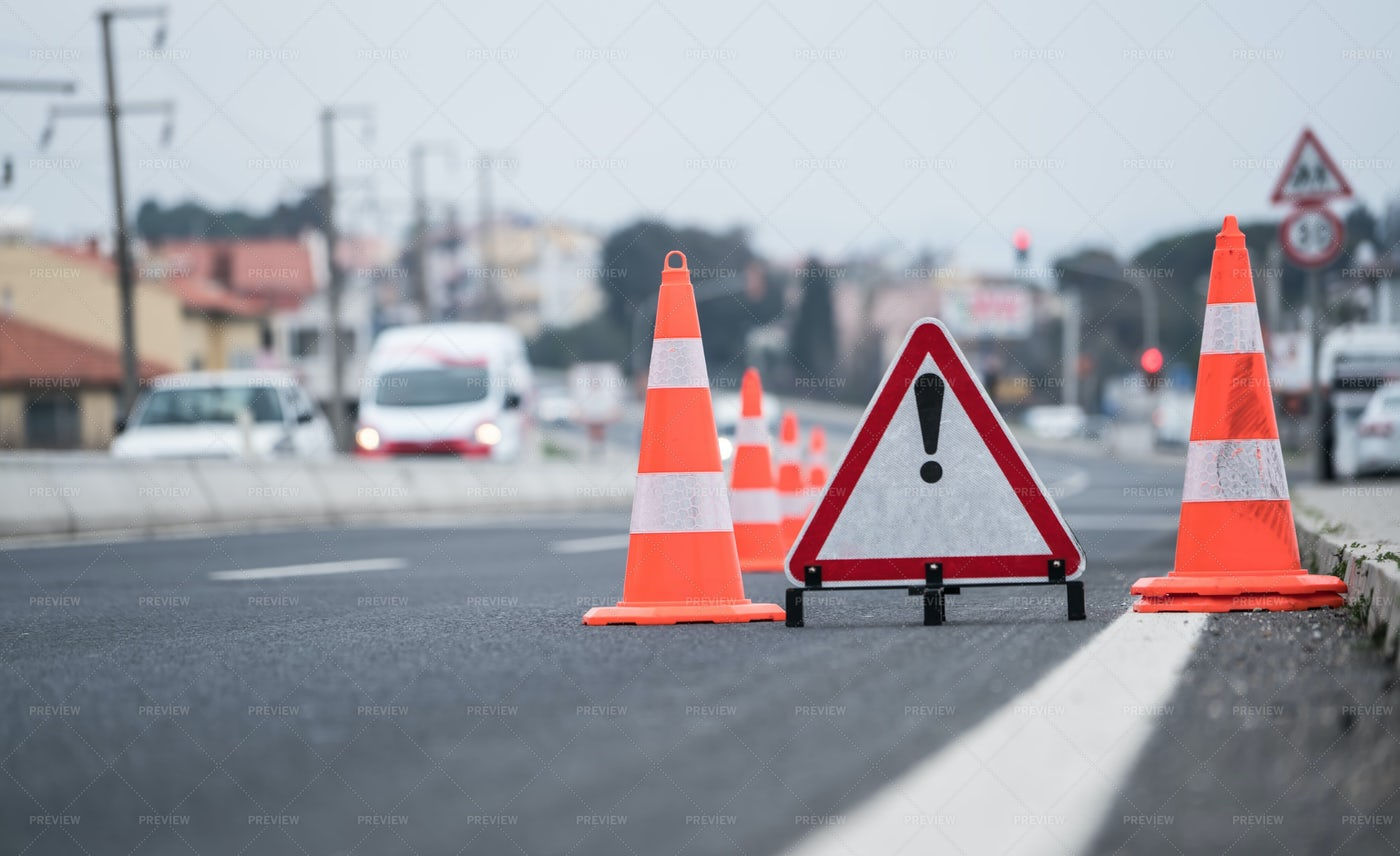 Traffic Cones On The Road: Stock Photos