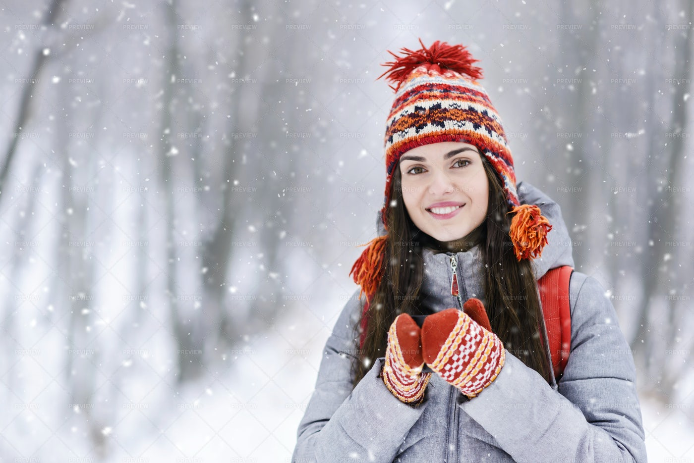 Girl in Snowy Forest: Stock Photos