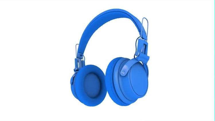 Blue Wireless Headphones: Stock Motion Graphics