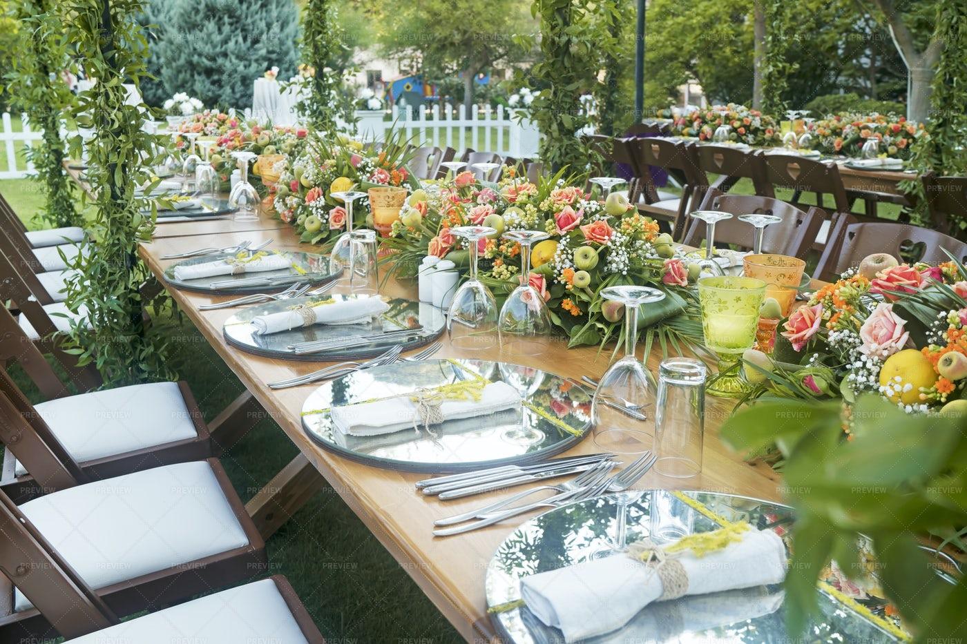 Arranged Wedding Table: Stock Photos