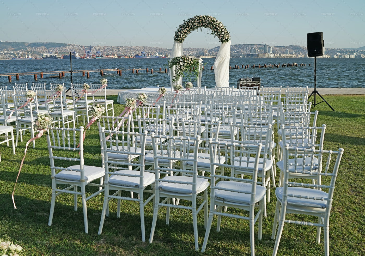 Wedding Arch And Chairs: Stock Photos