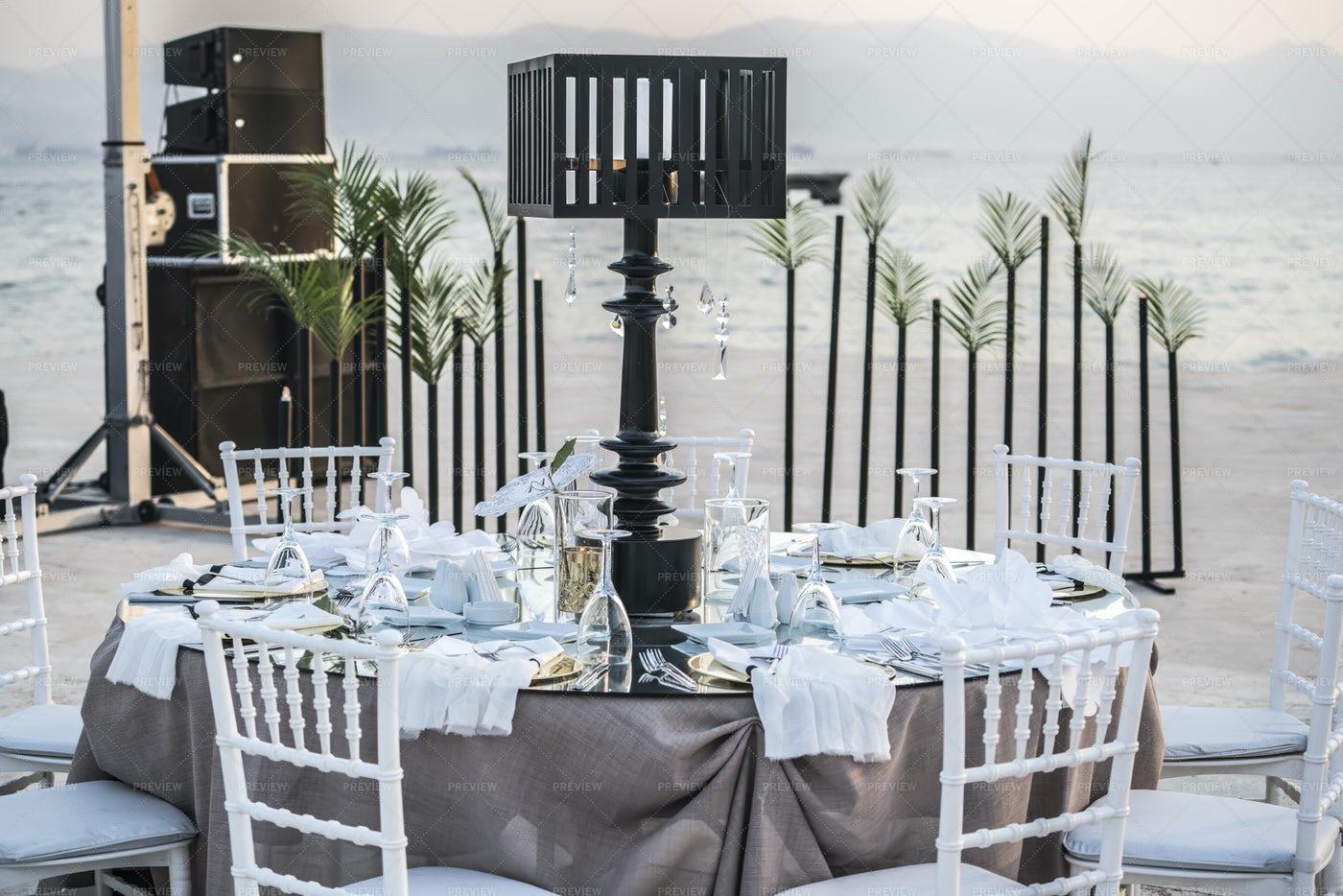 Wedding Table On Beach: Stock Photos