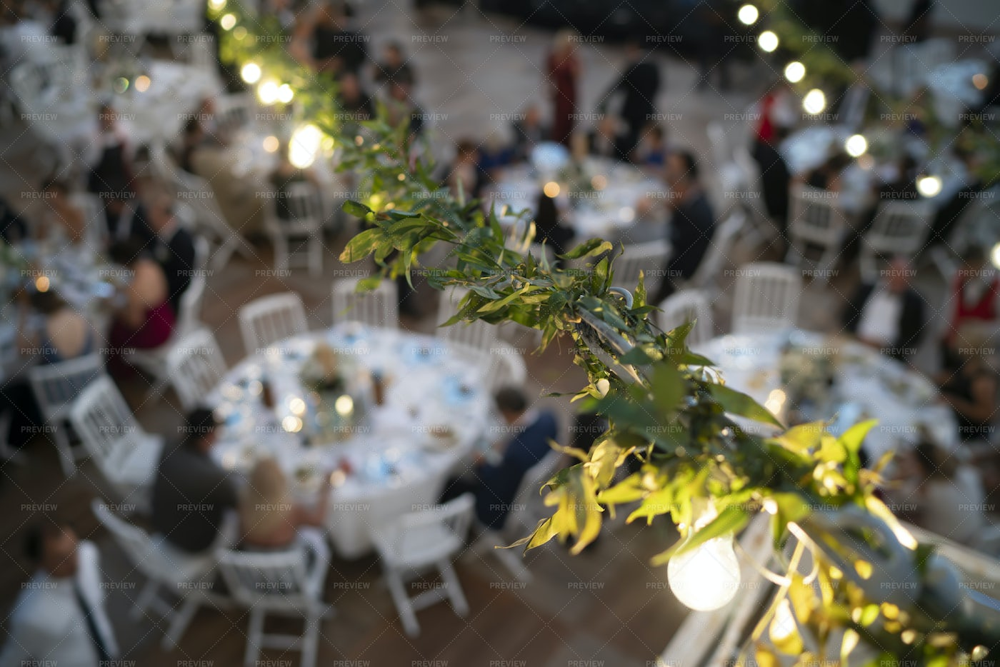 Wedding Dinner From Above: Stock Photos
