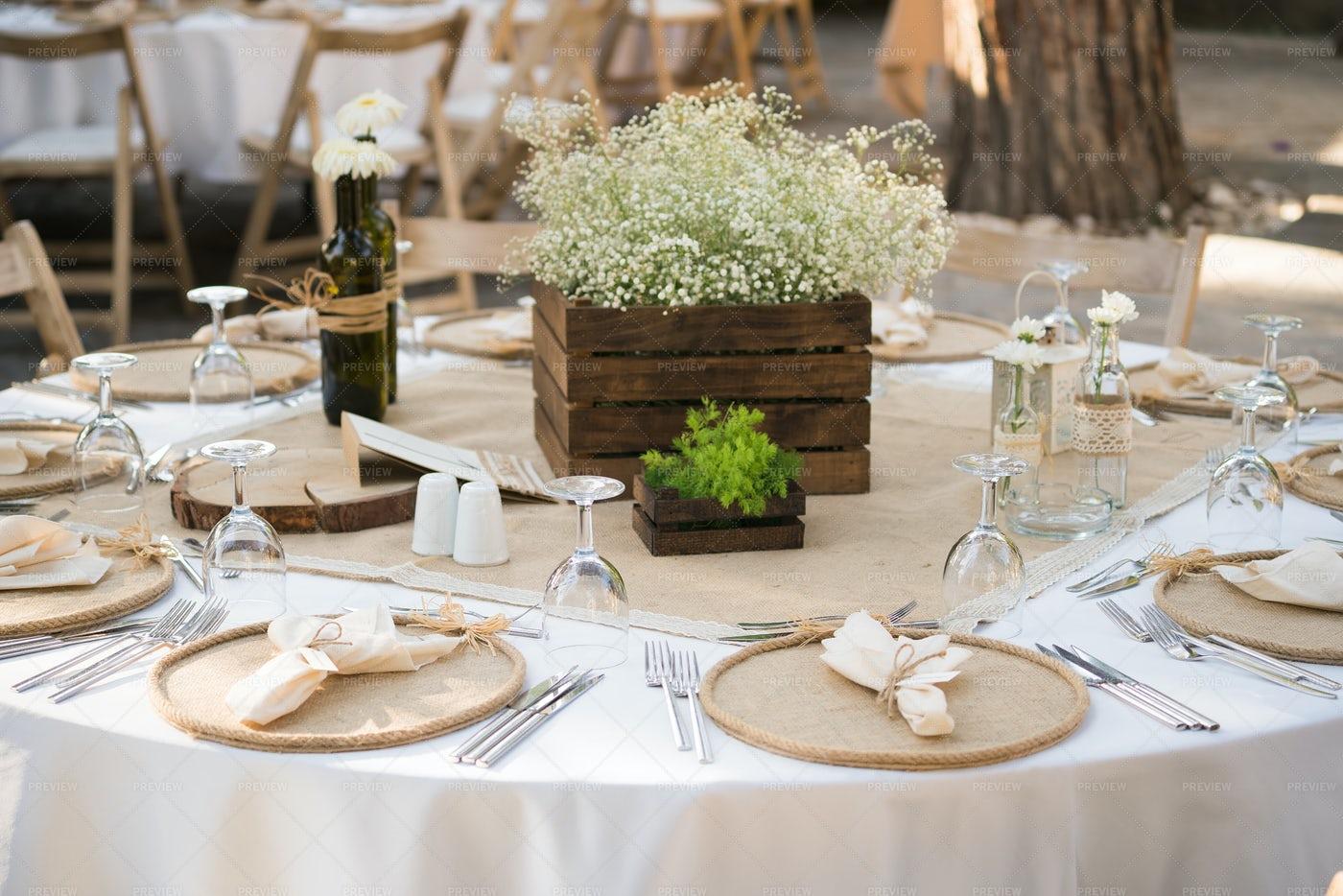 Beige Wedding Table: Stock Photos