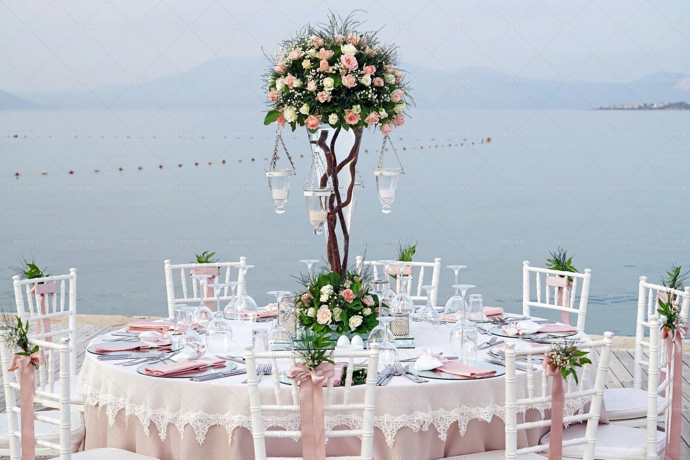 Beach Wedding Table: Stock Photos
