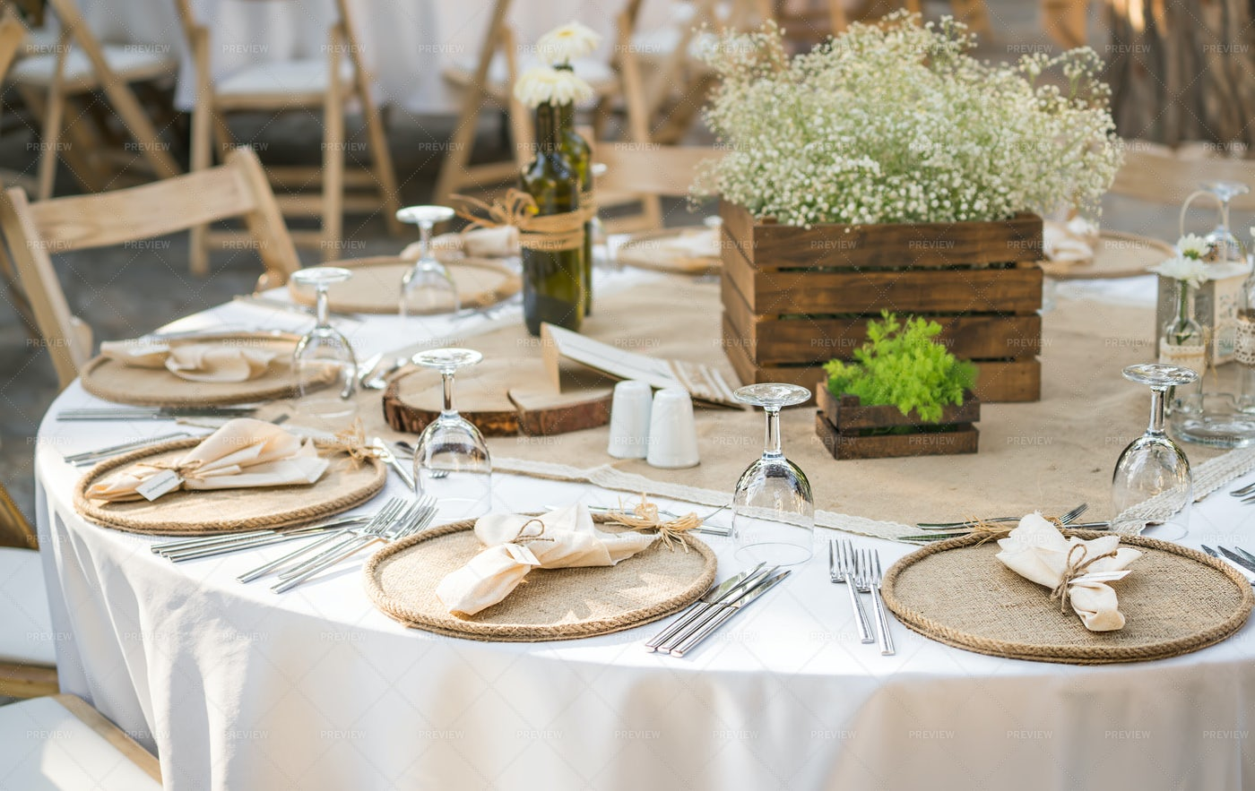Laid Wedding Reception Tables: Stock Photos