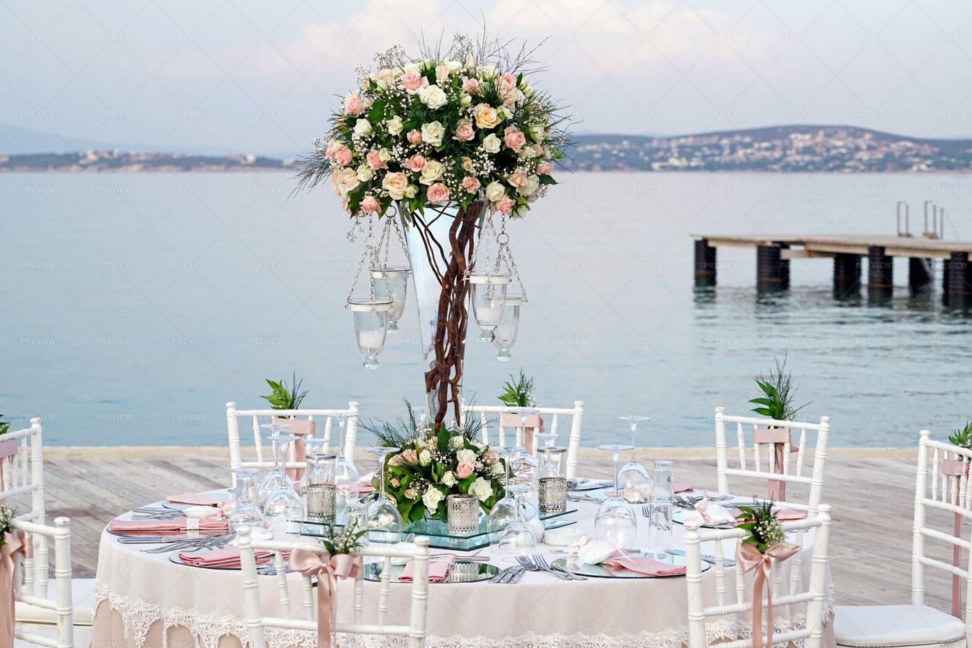 Wedding Table By The Sea: Stock Photos