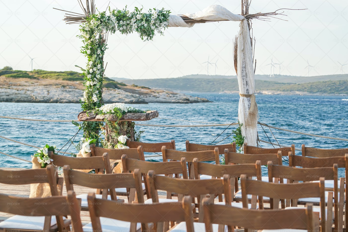 Wedding Ceremony By The Water: Stock Photos