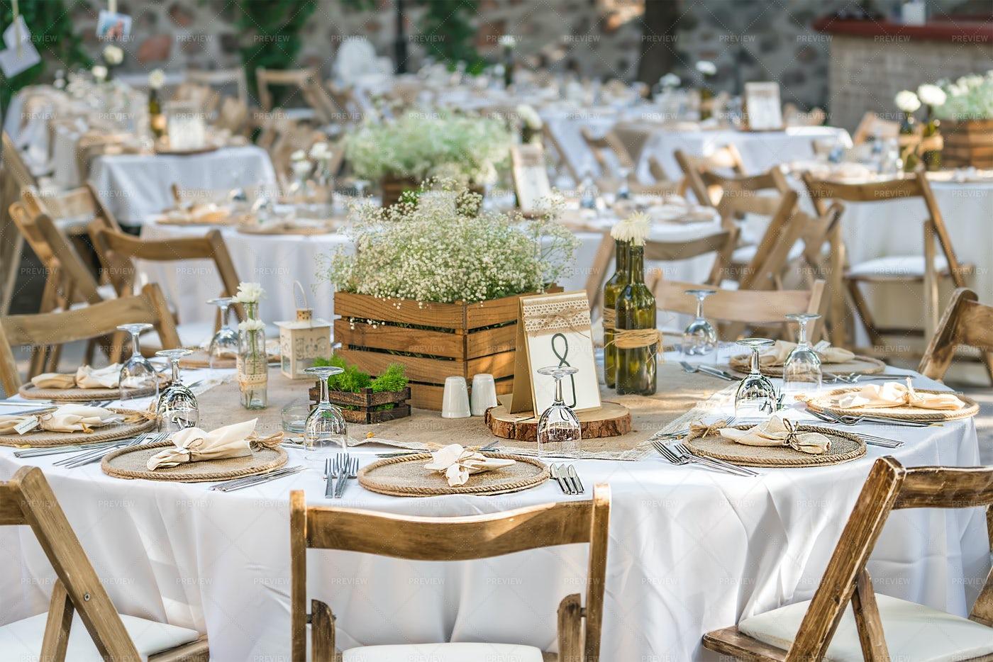 Many Laid Wedding Tables: Stock Photos