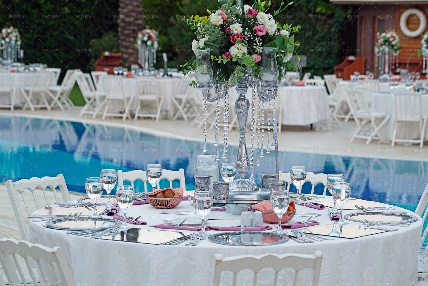 Laid Wedding Reception Table: Stock Photos