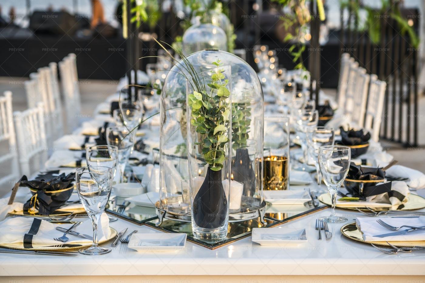 Laid Wedding Table: Stock Photos