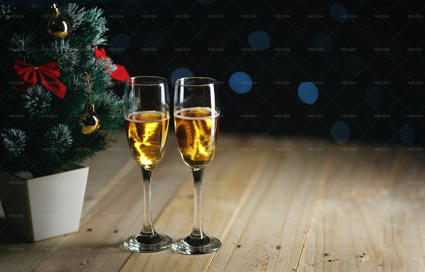Christmas Tree And Champagne: Stock Photos