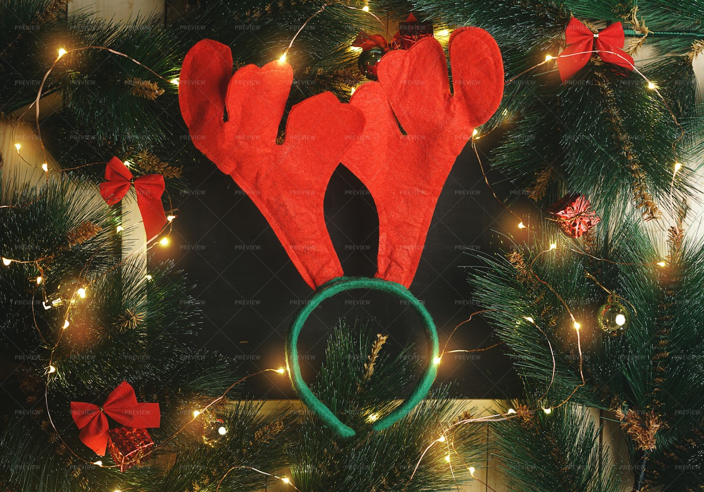 Reindeer Horn Headband: Stock Photos