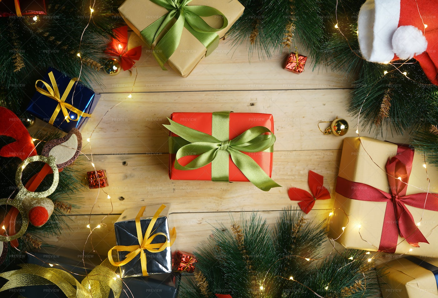 Top View Of Christmas Gifts: Stock Photos