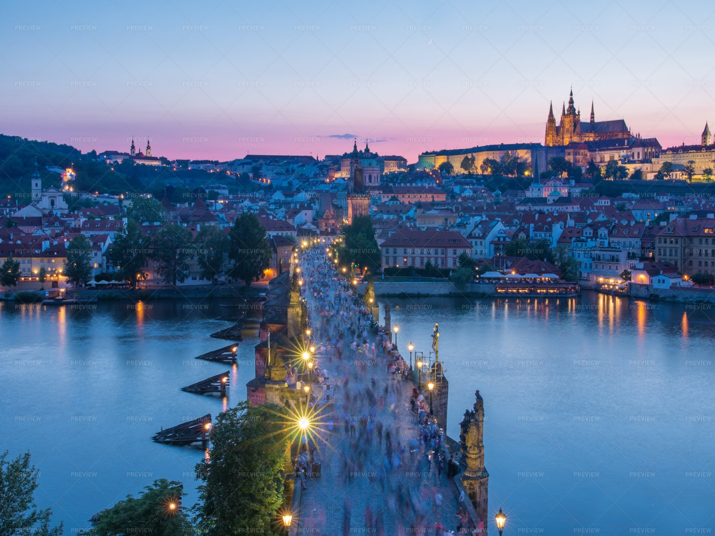 Prague Castle And Charle's Bridge: Stock Photos