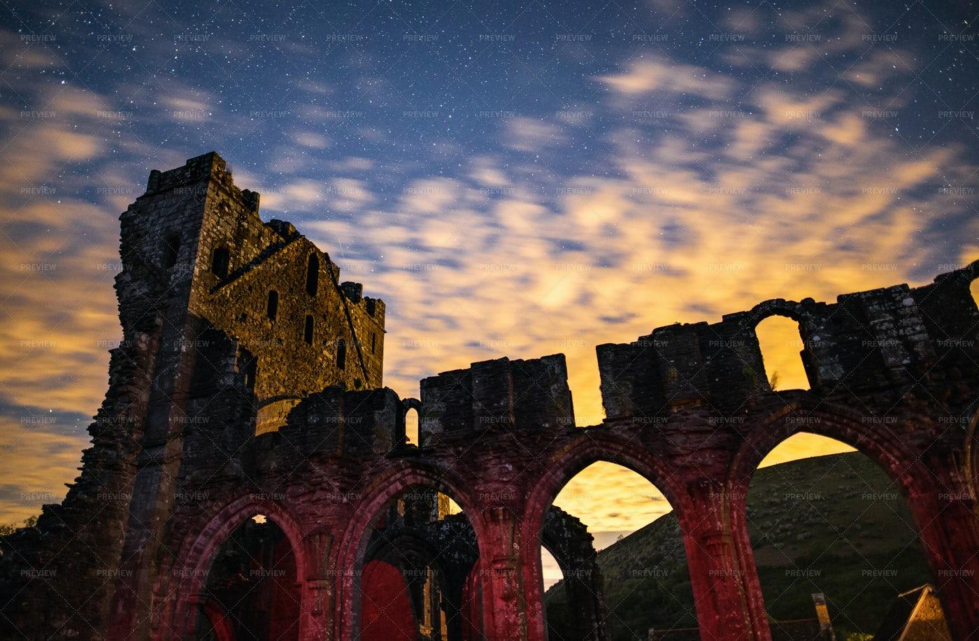 Priory Ruins At Night: Stock Photos