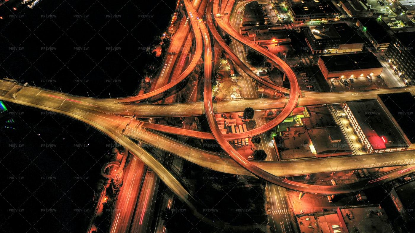 Highway Corkscrew At Night: Stock Photos