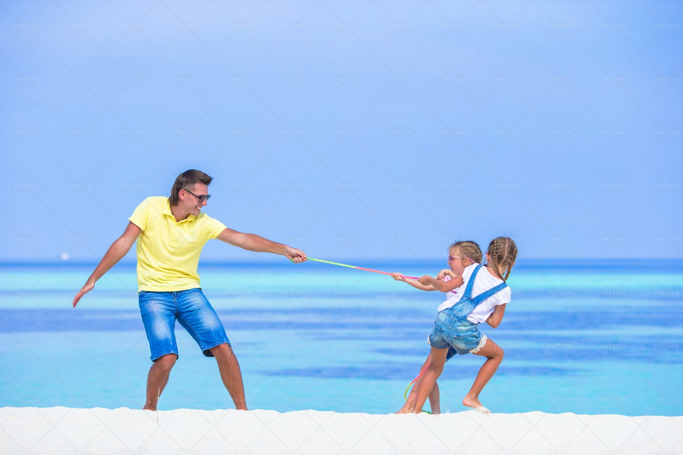 Father And Daughters Having Fun: Stock Photos