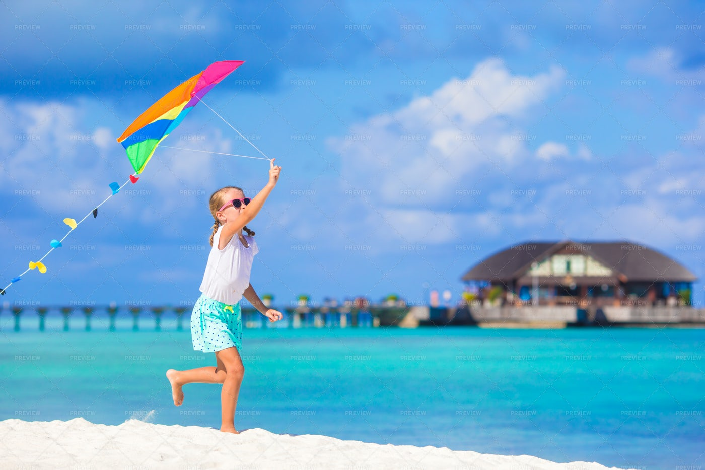 Playing With Flying Kite: Stock Photos