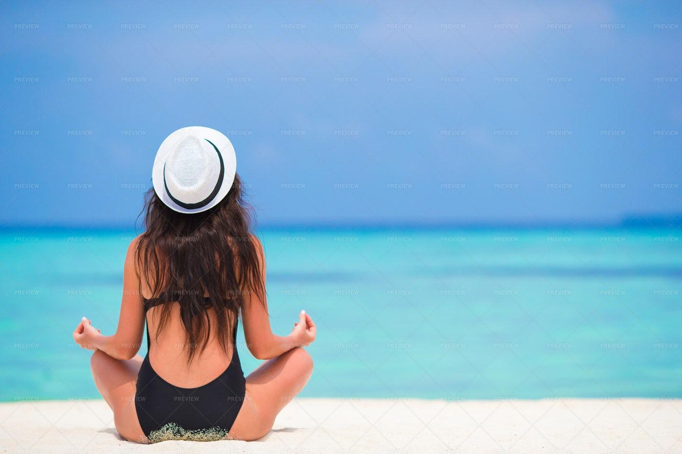 Meditation At The Beach: Stock Photos