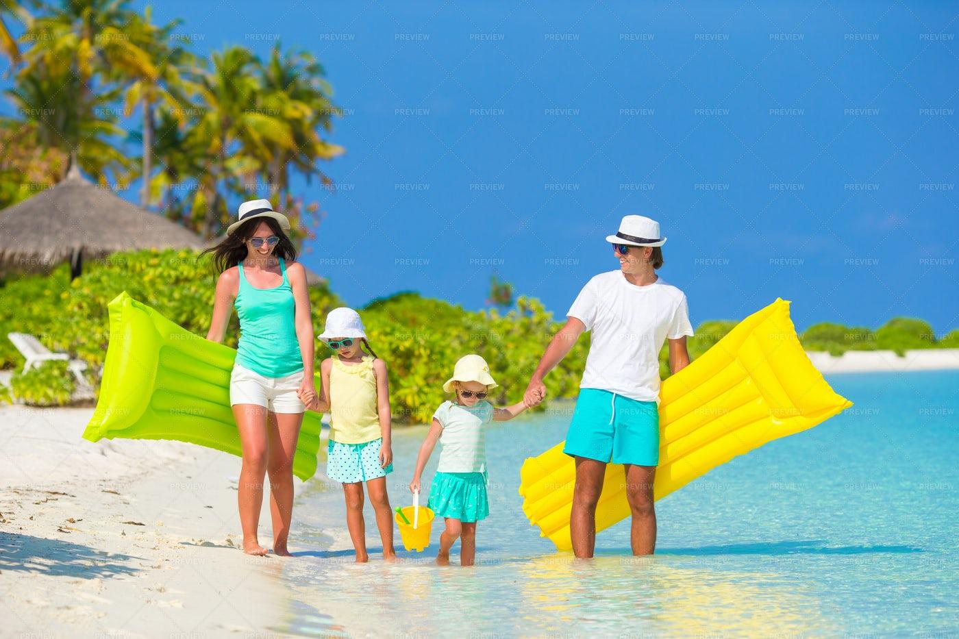 Family On Tropical Beach: Stock Photos