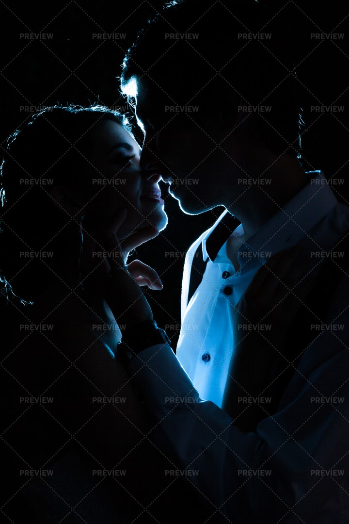 Bride And Groom Backlit: Stock Photos