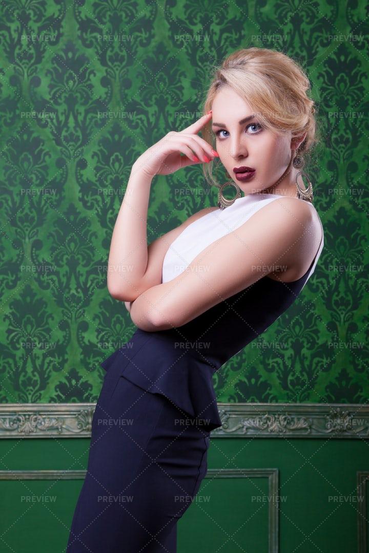 Woman's Portrait In Retro Interior: Stock Photos