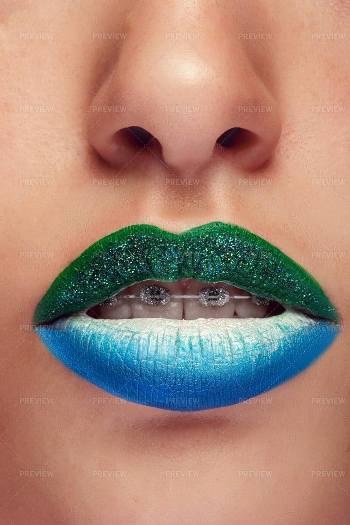 Artistic Lips Make Up: Stock Photos